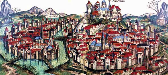 Medieval vista on Krakow and Kazimierz, Jewish Quarter in Krakow located on an island on Vistula River; 1493 woodcut from Hartmann Schedel's Nuremberg Chronicle
