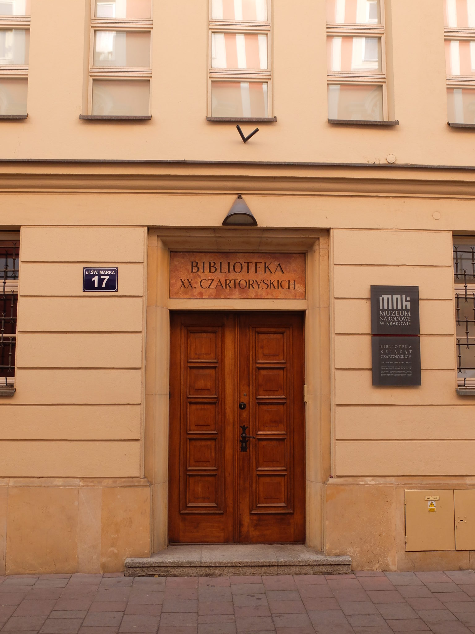 Entrance to the Princes Czartoryski Library, St. Mark Street in Krakow
