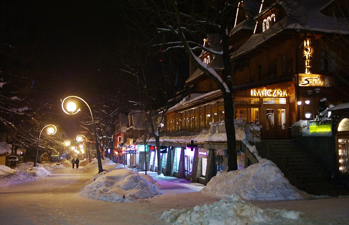 Krupowki, the main street in Zakopane is a fairy-tale scenery in Winter
