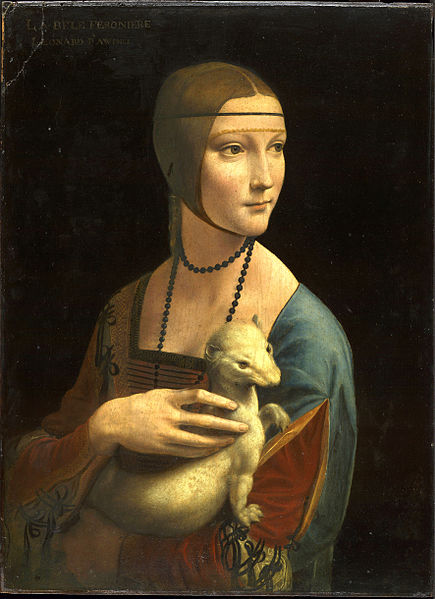 Lady with an Ermine is a painting by Leonardo da Vinci from 1489-90 of the Duke Ludovico Sforza's mistress, Cecilia Gallerani. The painting is owned by the Czartoryski Museum in Krakow, currently on display in the Wawel Castle