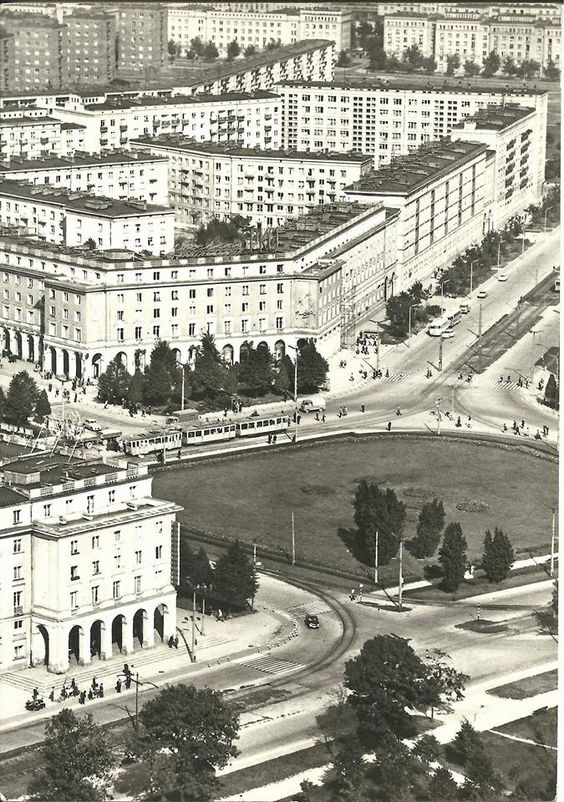 1950s photograph of the Central Square in Nowa Huta