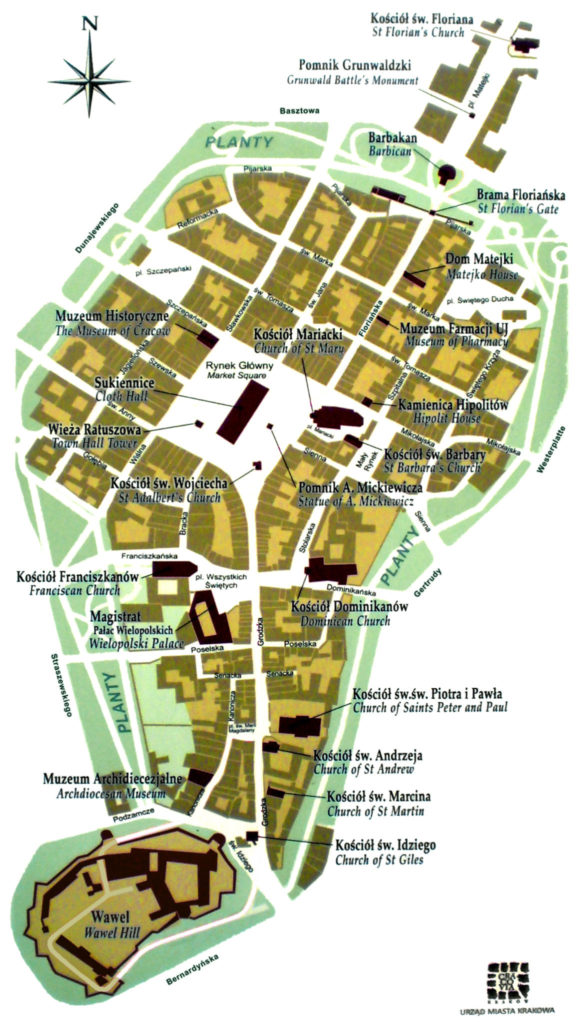 Map of Krakow Old Town
