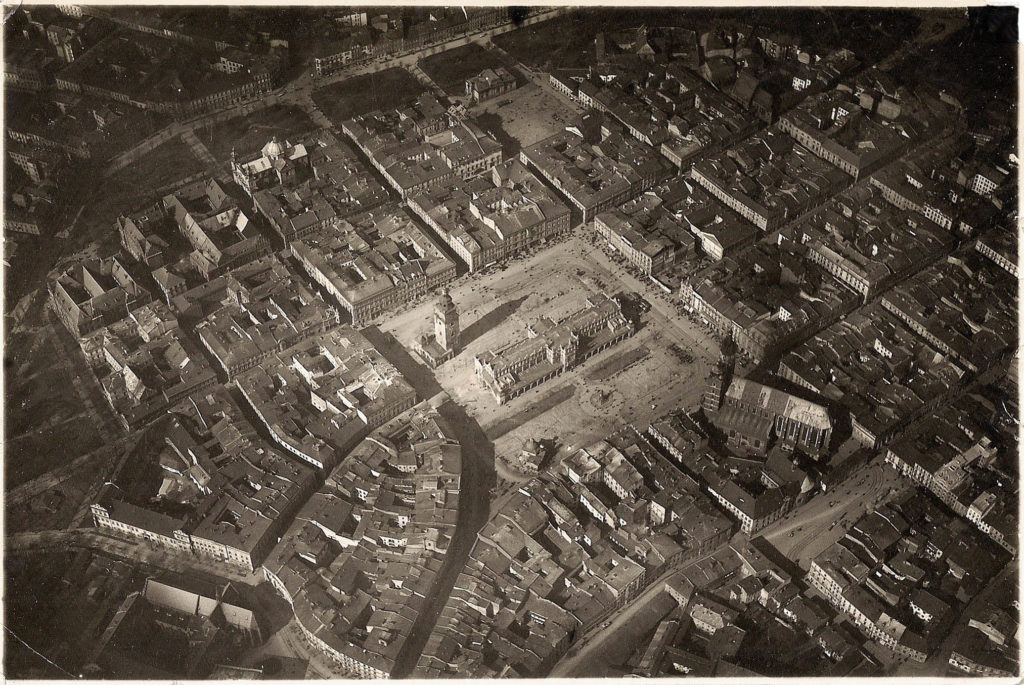 Aerial picture of Krakow Old Town, circa 1935