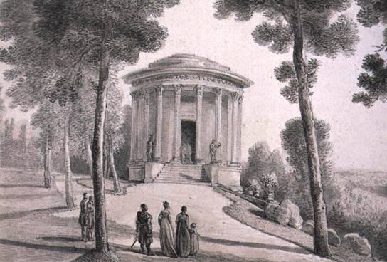 """Temple of Memory"" in Pulawy, the original premise of the Czartoryski Museum, 19th century engraving"