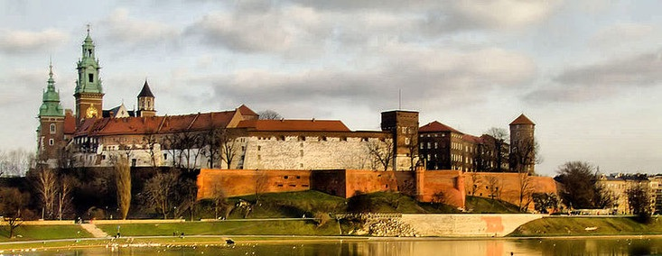 Wawel Hill, view on the Wawel Castle Krakow from Vistula riverbanks