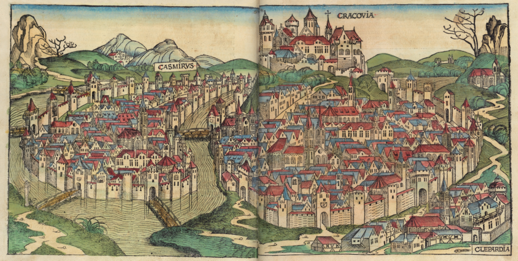 The oldest known depiction of Krakow, the Nuremberg Chronicle, 1493, Historical Museum of Krakow