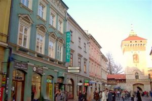 Florianska street with famous St. Florian Gate houses many prestigious hotels and cheaper accommodation