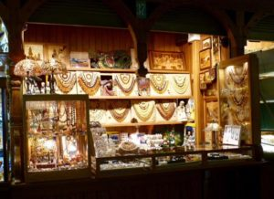 Amber jewellery stall in Krakow Cloth Hall