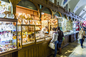 Stalls in the Cloth Hall offering unique souvenirs from Krakow