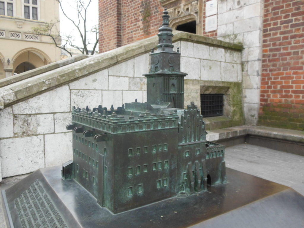 Model of the once existing Town Hall building with the Tower