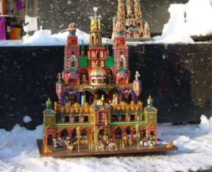 Christmas Szopka displayed at the foot of Adam Mickiewicz Monument