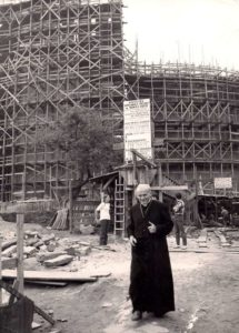 Karol Wojtyla on the construction site of the first church in Nowa Huta