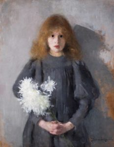 Girl with chrysanthemums, Olga Boznanska, 1894. Gallery of 20th-century Polish art, National Museum in Krakow
