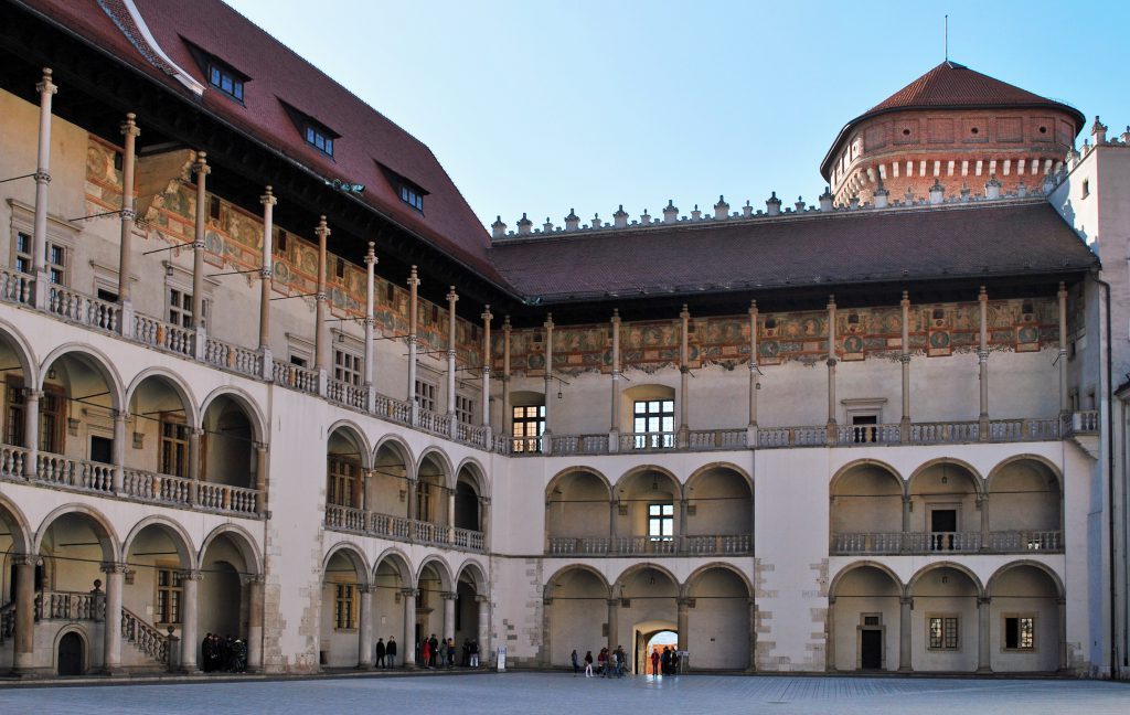 Arcaded courtyard built in 16th century that made the Wawel Castle a magnificent Reneissance residence