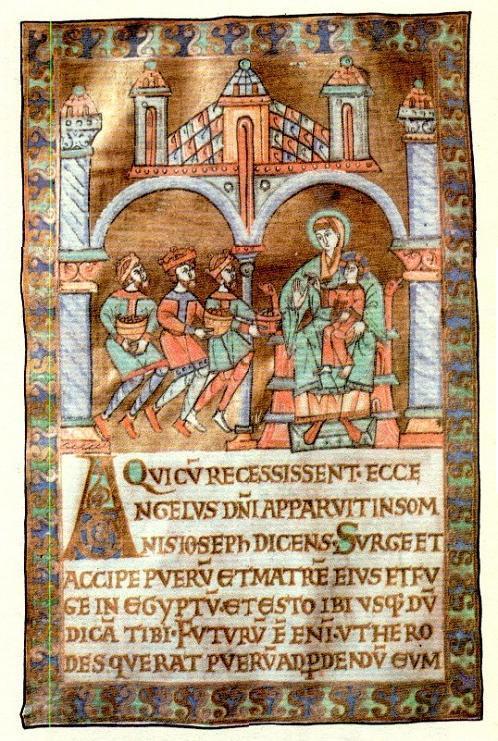 Illluminated page from 11th-century manuscript, so called Pultusk codex, Princes Czartoryski Library