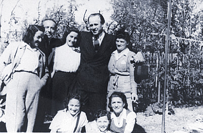 Oskar Schindler with the people he saved