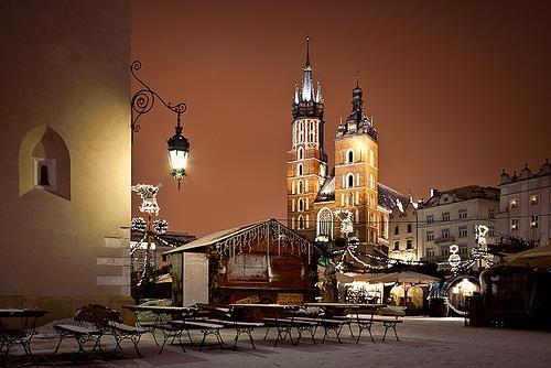 Krakow christmas market winter