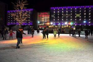 Ice skating rink in front of the biggest of Krakow shopping centres, Galeria Krakowska
