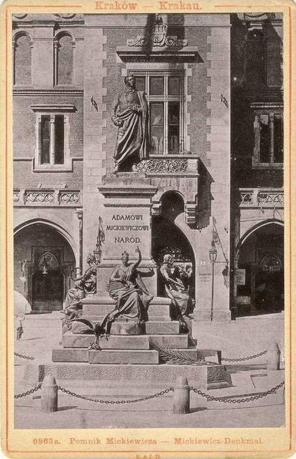 Postcard of Adam Mickiewicz Monument, circa 1898-1905