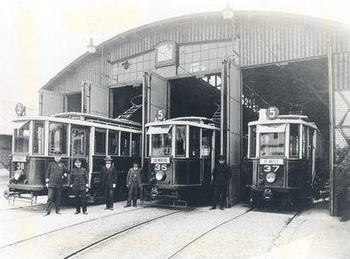 Original trams in St. Wawrzynca Street tram depot