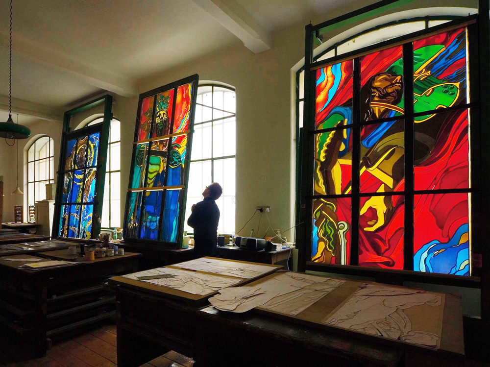 Inside the Stained Glass Museum and Workshop