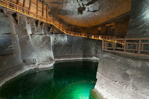 Underground lake in the Wieliczka Salt Mine