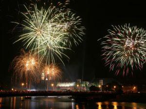 New Year's fireworks over Wawel Castle in Krakow
