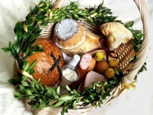 Baskets blessed in a Church on Easter Sunday are filled with food eaten typically on Easter